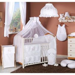 pościel 14-el miś na księżycu w bieli do łóżeczka 70x140cm - moskitiera marki Mamo-tato