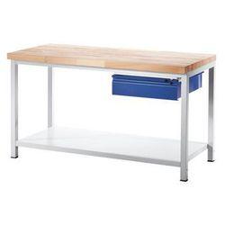 Stół warsztatowy, stabilny,1 szuflada w rozmiarze L, 1 półka z litego drewna bukowego