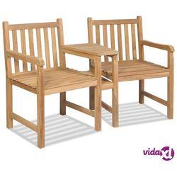 krzesła ogrodowe z otworem na parasol, 2 szt., drewno tekowe marki Vidaxl