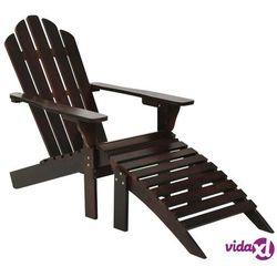 fotel ogrodowy z podnóżkiem, drewniany, brązowy marki Vidaxl