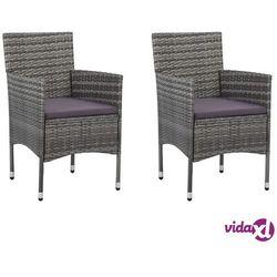 Vidaxl krzesła ogrodowe, 2 szt., rattan pe, szare (8719883727301)