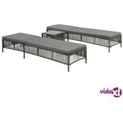 zestaw 2 leżaków ze stolikiem, rattan pe, szare marki Vidaxl