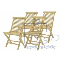 Divero Komplet 4 x składane krzesła ogrodowe z drewna tekowego (4025327997518)
