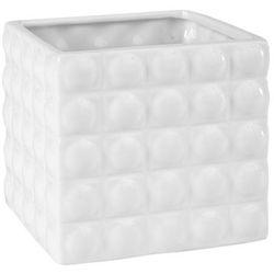 Polnix Osłonka doniczki wewnętrzna w kwadraty 14 cm biała