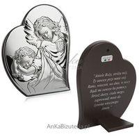 Valenti & co Obrazek srebrny aniołek w sercu 9 cm*10,7cm modlitwa