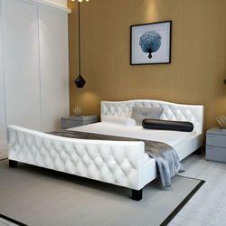 vidaXL Łóżko podwójne z materacem Memory Foam 140 x 200 cm, białe (8718475554509)