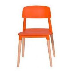Krzesło plastikowe ECCO PREMIUM pomarańczowe - polipropylen, podstawa bukowa (5900000018966)