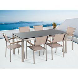 Meble ogrodowe - stół granitowy – cała płyta - 180 cm czarny polerowany z 6 beżowmi krzesłami - GROSSETO - produkt z kategorii- Zestawy ogrodowe