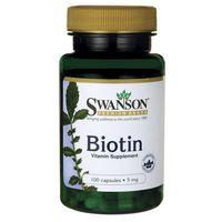 Swanson Biotyna 5mg 100 kaps. z kategorii Pozostałe zdrowie