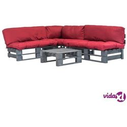 Vidaxl 4-cz. zestaw ogrodowy, czerwone poduszki, palety z drewna fsc (8718475727965)