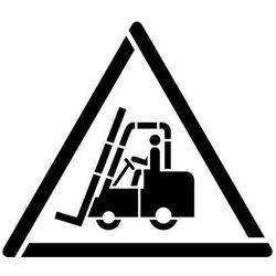 Szablon do malowania Znak ostrzeżenie przed urządzeniami do transportu poziomego GW014 - 17x20 cm