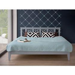 Łóżko szare - 180x200 cm - podwójne - ze stelażem - drewniane - CALAIS, kolor szary
