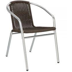 Springos Krzesło ogrodowe, plecione na taras metalowe brąz chrom mix (5907719427676)