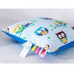 Mamo-tato poduszka minky dwustronna 40x40 sówki błękitne / niebieski