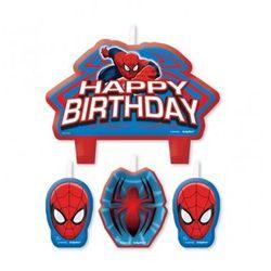 Świeczki Happy Birthday Spiderman - 4 szt., towar z kategorii: Gadżety