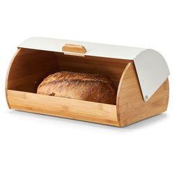Chlebak z drewna bambusowego, biały pojemnik na pieczywo uatrakcyjni wygląd stylowej kuchni