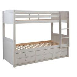 Łóżko piętrowe anchise z możliwością rozdzielenia - 90 × 190 cm - z półkami - lakierowane na biało marki Vente-unique