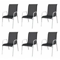 Vidaxl krzesła ogrodowe, sztaplowane, 6 szt., stal i textilene, czarne marki Elior