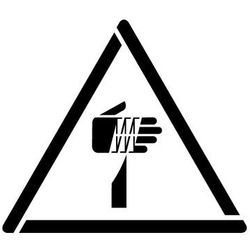 Szablon do malowania znak ostrzeżenie przed ostrymi elementami gw022- 17x20 cm marki Szabloneria