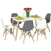 Zestaw mebli MEDIOLAN stół i 6 krzeseł - biały - Biały