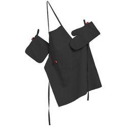 Dekoria Komplet kuchenny łapacz, rękawica oraz fartuch, satynowa czerń, kpl, Comics - produkt z kategorii- Fartuchy kuchenne