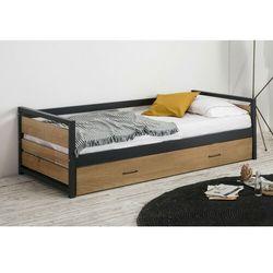 Łóżko wysuwane w industrialnym stylu boston - 2x90x190cm - mdf, sosna i metal kolor: orzech i antracyt marki Vente-unique