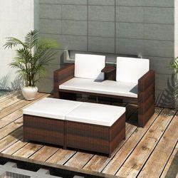 vidaXL Zestaw mebli rattanowych, sofa i dwa podnóżki, brąz z kategorii Sofy