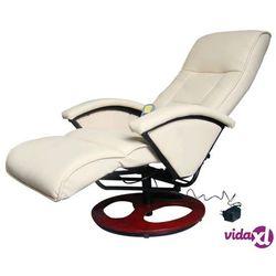 vidaXL Fotel masujący, biały, sztuczna skóra (8718475806981)