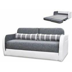 2-osobowa rozkładana kanapa z tkaniny i materiału skóropodobnego vilo - kolor: biały i szary marki Vente-unique
