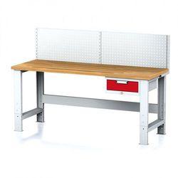 Stół warsztatowy MECHANIC z nadstawką, 2000x700x700-1055 mm, nogi regulowane, 1x 1 szufladowy kontener, szary/czerwony