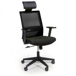 Krzesło biurowe z oparciem z siatki wolf, regulowane podłokietniki, plastikowy krzyżak, czarne marki B2b partner