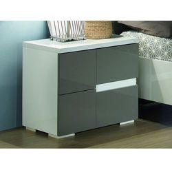 Stolik nocny lewostronny GUILHEM - 2 szuflady - Lakierowane na szaro i biało