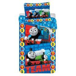 Jerry fabrics  dziecięca pościel bawełniana lokomotywa tomek steam team 140x200 70x90