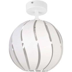 Plafon lampa sufitowa globus skos 31315 ażurowa oprawa metalowa kula ball z wycięciami biała marki Sigma