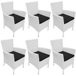 Vidaxl  krzesła jadalniane do ogrodu, rattan, 6 szt. śmietankowe, kategoria: krzesła ogrodowe