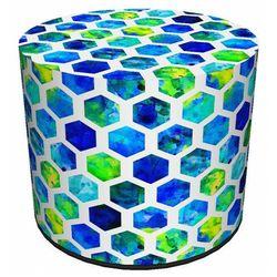 Niebiesko-zielona okrągła tapicerowana pufa ozdobna - Atola, kolor zielony