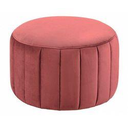 Okrągły różowy tapicerowany podnóżek - Jumbo, kolor różowy