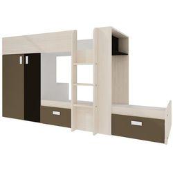 Łóżko piętrowe JULIEN – 2 × 90 × 190 cm – szafa – kolor sosna biała i czekoladowy