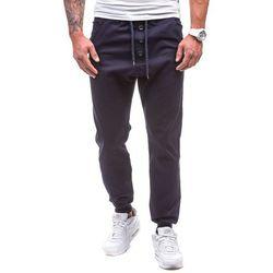Granatowe spodnie joggery męskie Denley 0472 - GRANATOWY marki ATHLETIC
