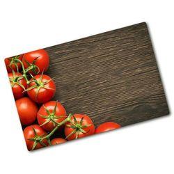 Deska kuchenna duża szklana Pomidory na drewnie