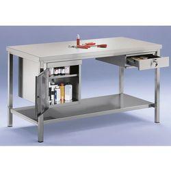 Unbekannt Stół warsztatowy ze stali szlachetnej, 1 szafka dolna, 1 szuflada, 1 pełna półka