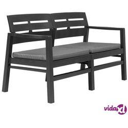 Vidaxl ławka ogrodowa z poduszkami, 2-os., 133 cm, plastik, antracyt (8718475743200)