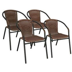Krzesło ogrodowe 4 szt. metalowe, plecione krzesło na balkon ciemny brąz mix