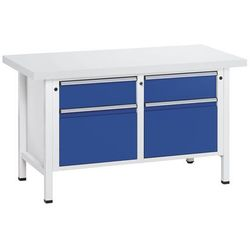 Stół warsztatowy, stabilny, 2 szuflady 180 mm, 2 szuflady 360 mm, blat uniwersal marki Anke werkbänke - anton kessel