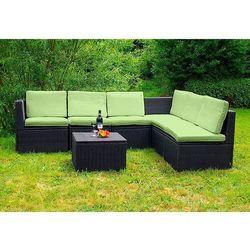 Komplet mebli ogrodowych Garth polyrattan z poduszkami, zielone