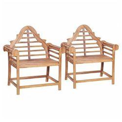 Zestaw drewnianych krzeseł ogrodowych niclos - brązowy marki Elior