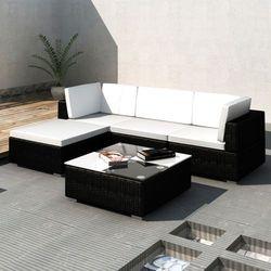 Vidaxl  rattanowa sofa rogowa z zadaszeniem, czarna