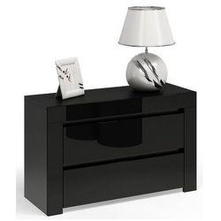 Lakierowana szafka nocna Naria 5X - czarny połysk