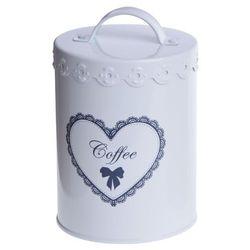 Puszka na kawę z sercem 15 cm biała