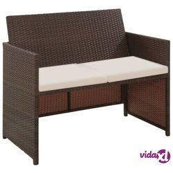 vidaXL 2-osobowa sofa ogrodowa z poduszkami, polirattan, brązowa, vidaxl_43911